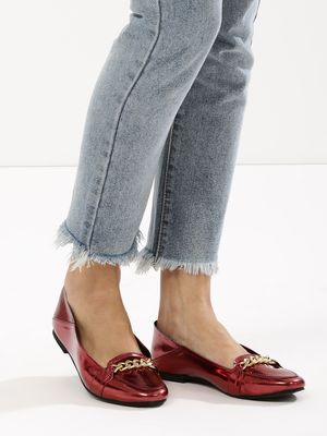 KOOVS Chain Detail Square Toe Loafers