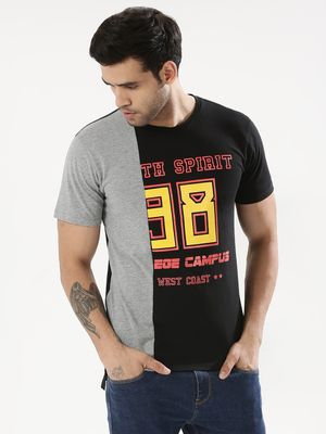 KOOVS Cut & Sew Contrast Panel T-Shirt