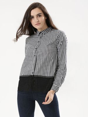 Girls On Film Gingham Shirt With Lace Hem