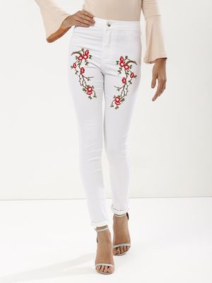 Influence Floral Embroidered Skinny Jeans