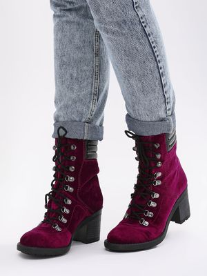KOOVS Lace Up Heeled Hiking Boots
