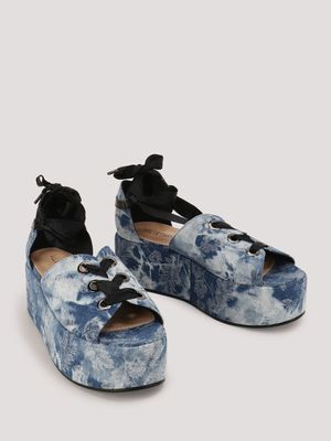 Velvet Army Tie Up Flatform Sandals