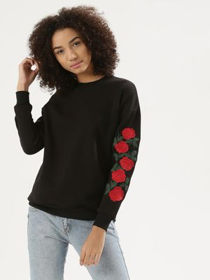 Liquor n Poker Rose Embroidered Sweatshirt