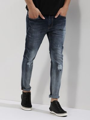 K Denim KOOVS  Ombre Wash Skinny Jeans With Knee Rips