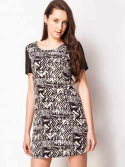 KOOVS Geometric Border Print Dress
