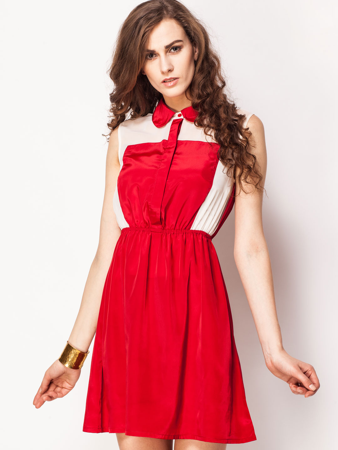 KOOVS Raspberry/Ivory Colour Block Chiffon Dress 1