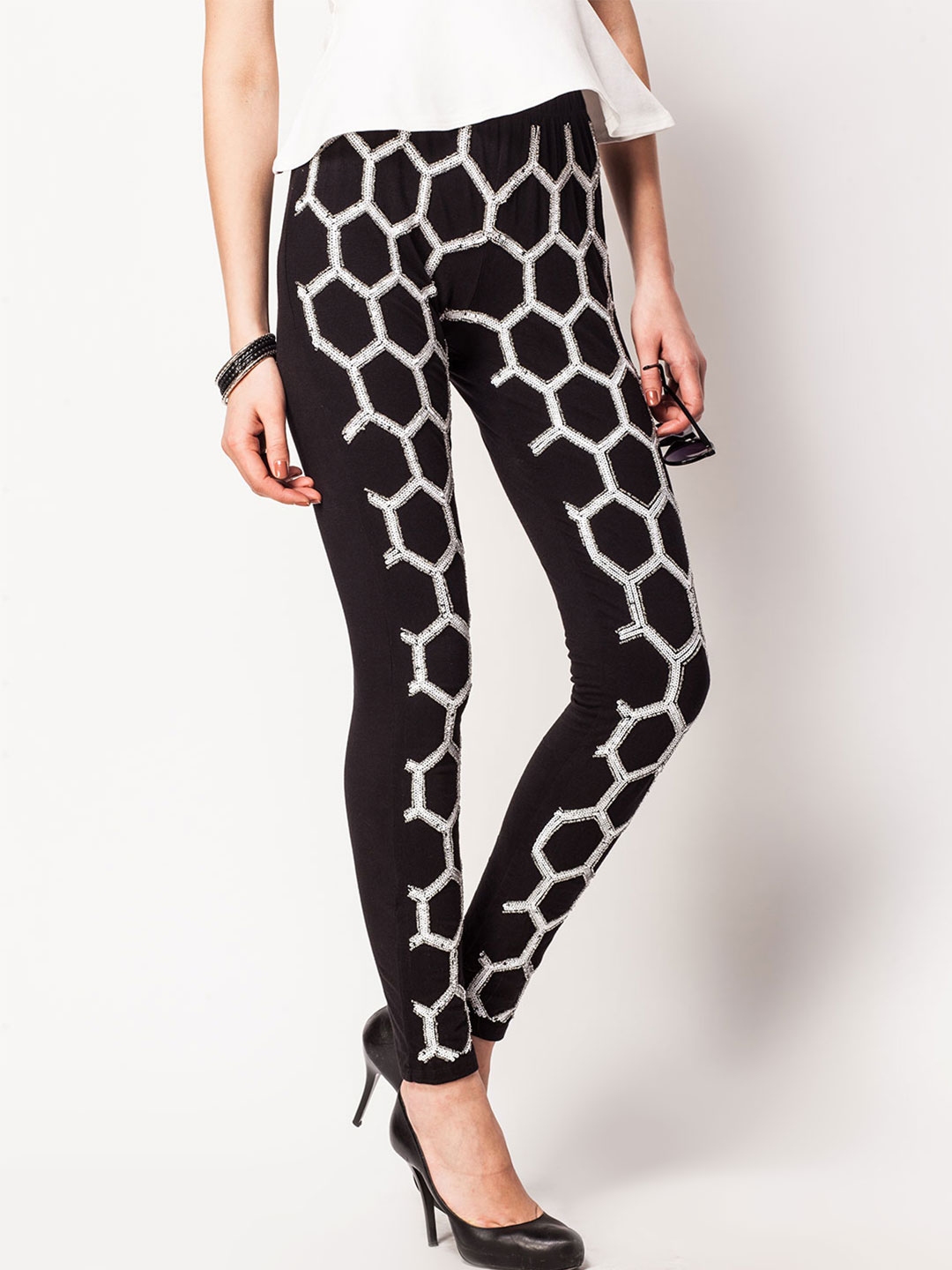 KOOVS Black/White Hexagon Sequined Beaded Legging 1