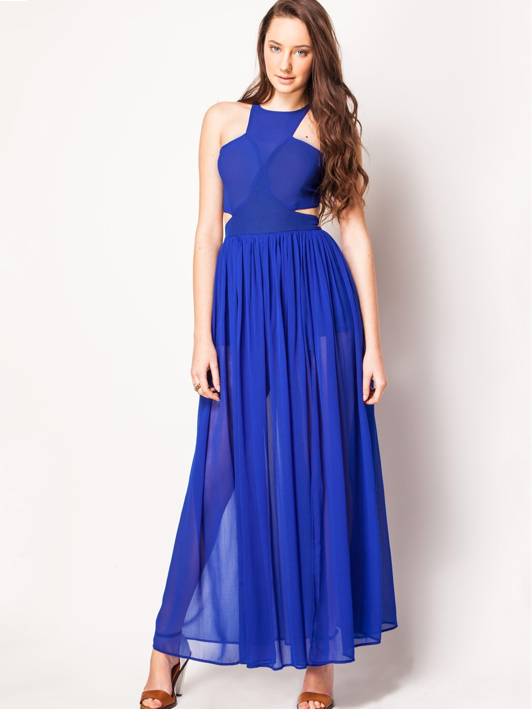 KOOVS Electric Blue Glam Backless Maxi With Splits 1