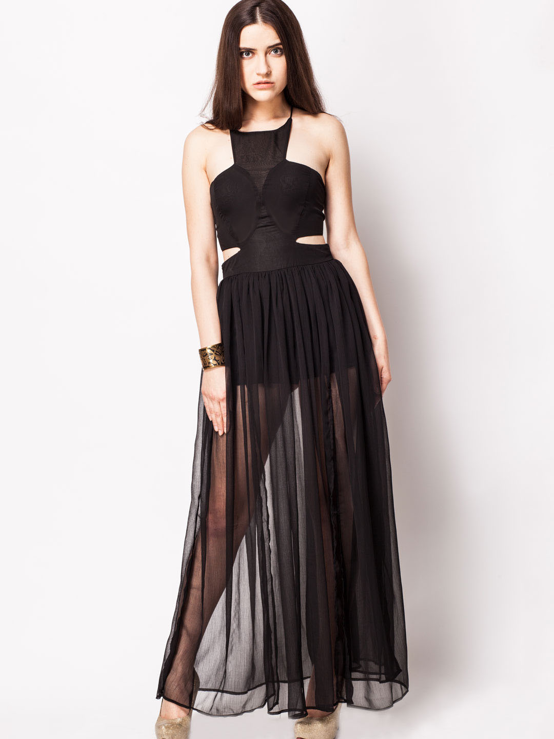 KOOVS Black Glam Backless Maxi With Splits 1
