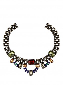 KOOVS Multi Colour Diamante Link Choker