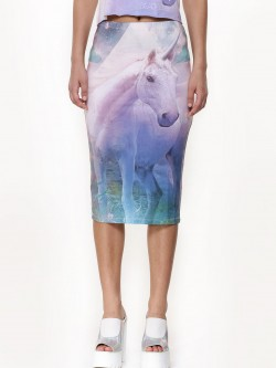 Dead Lovers Unicorn Print Pencil Skirt