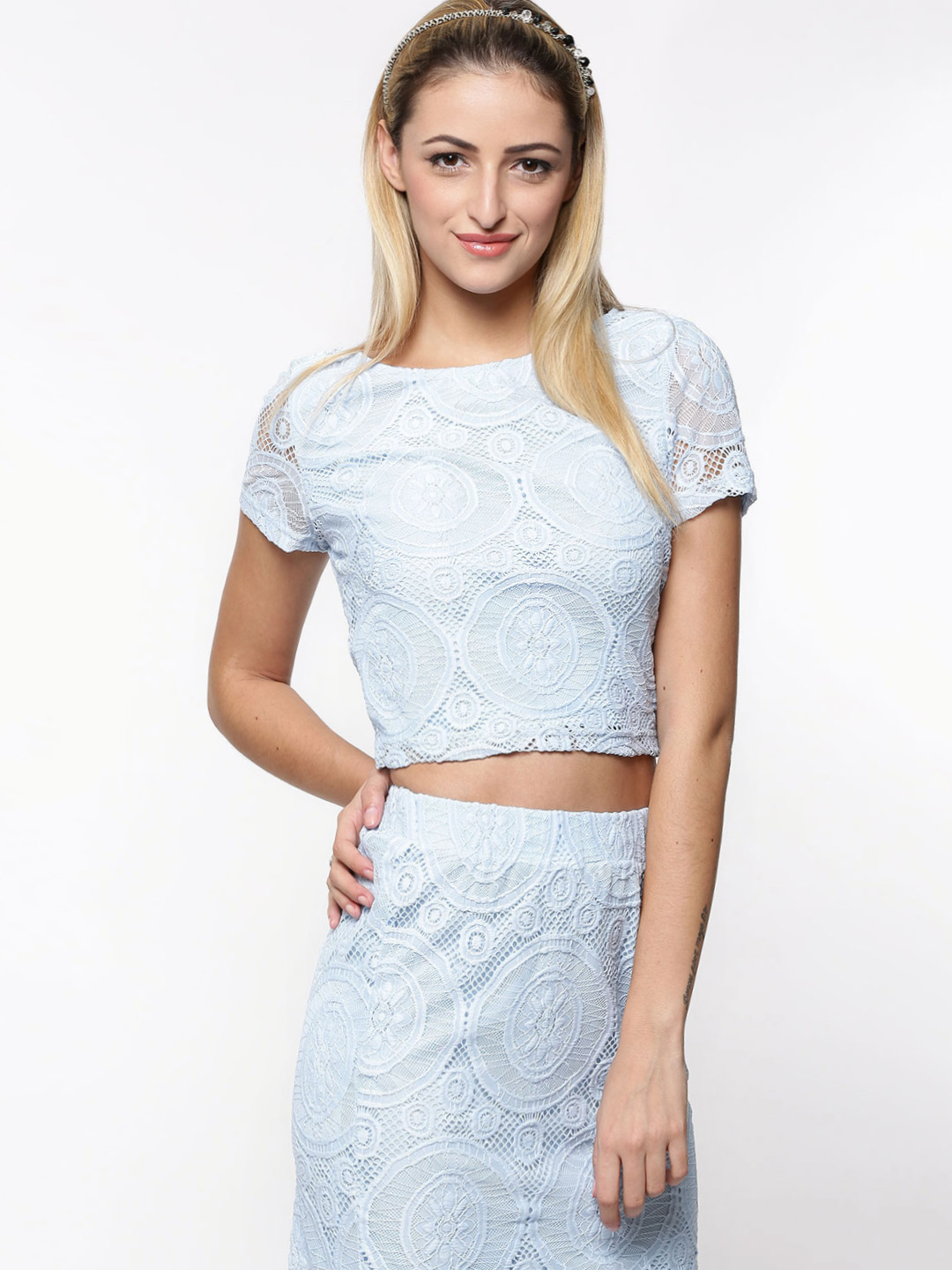 Girls On Film BABY BLUE Lace Overlay Crop Top 1