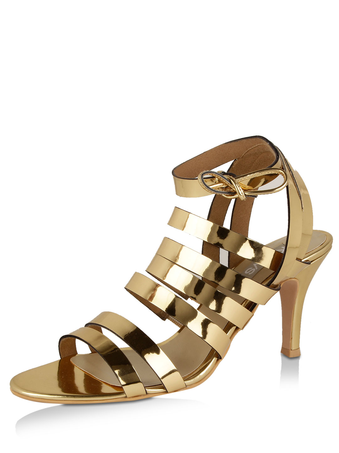 KOOVS Gold Gold Strappy High Heeled Sandals 1