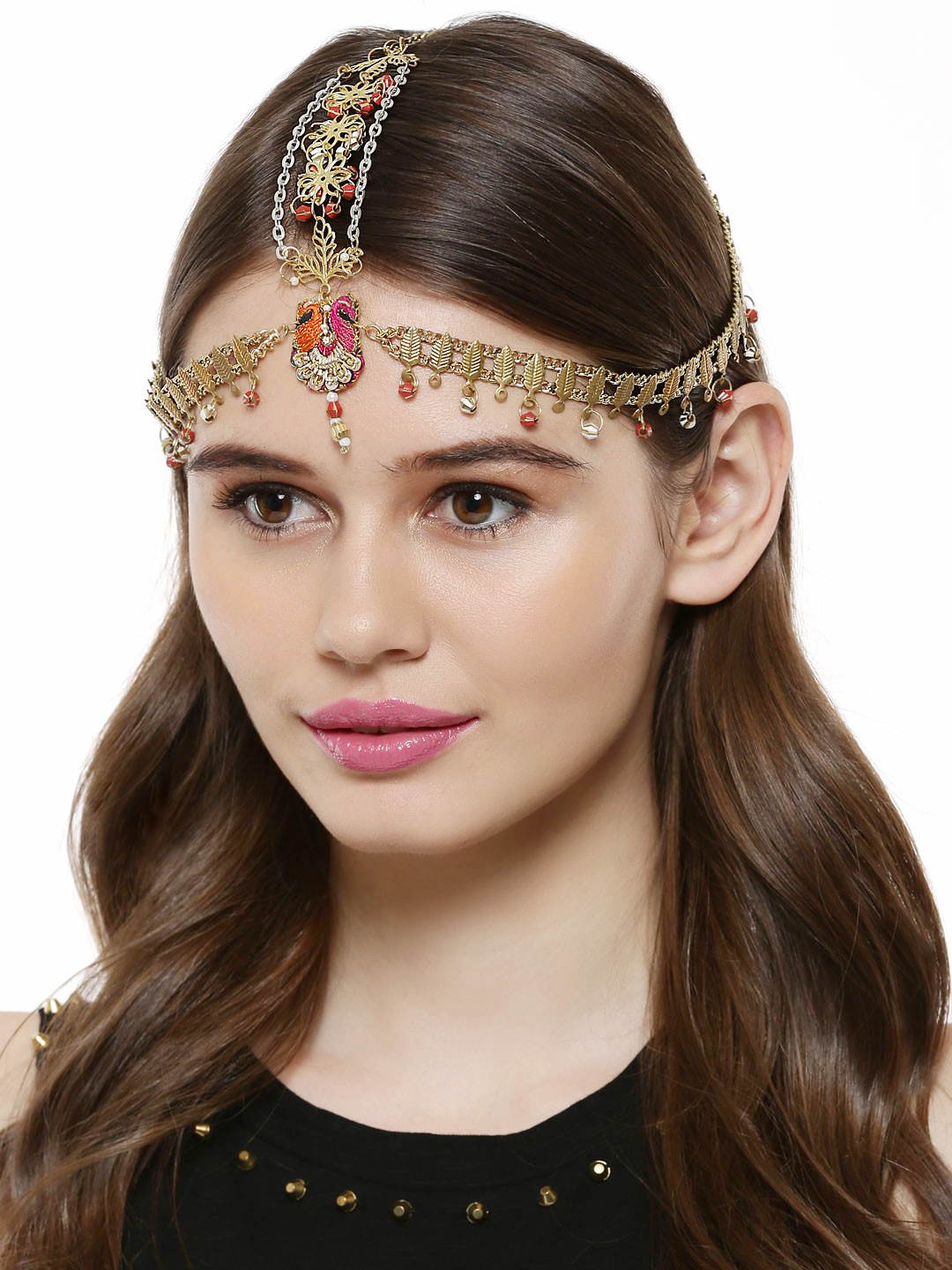 Fooljhadi Pink/Orange Bead & Sequin Head Gear 1
