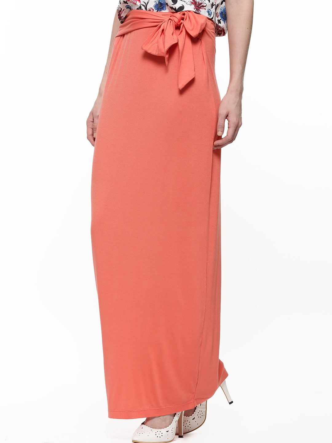 KOOVS Orange Tie Front Maxi Skirt 1