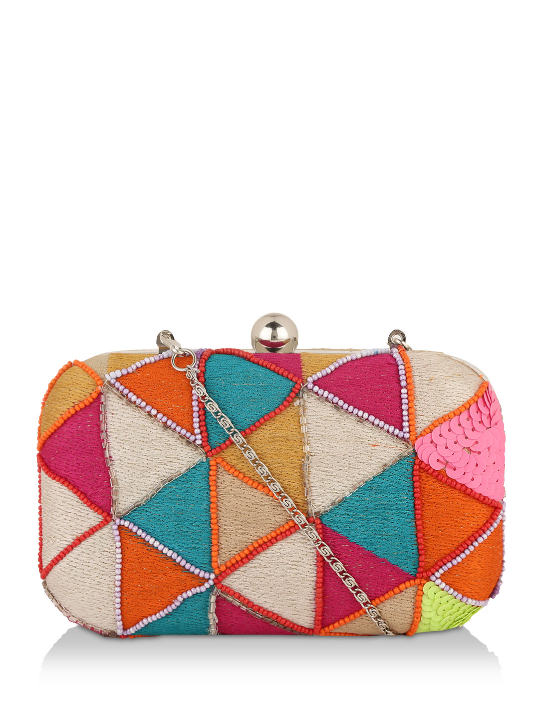 KOOVS Multi Triangle Embellished Box Clutch 1