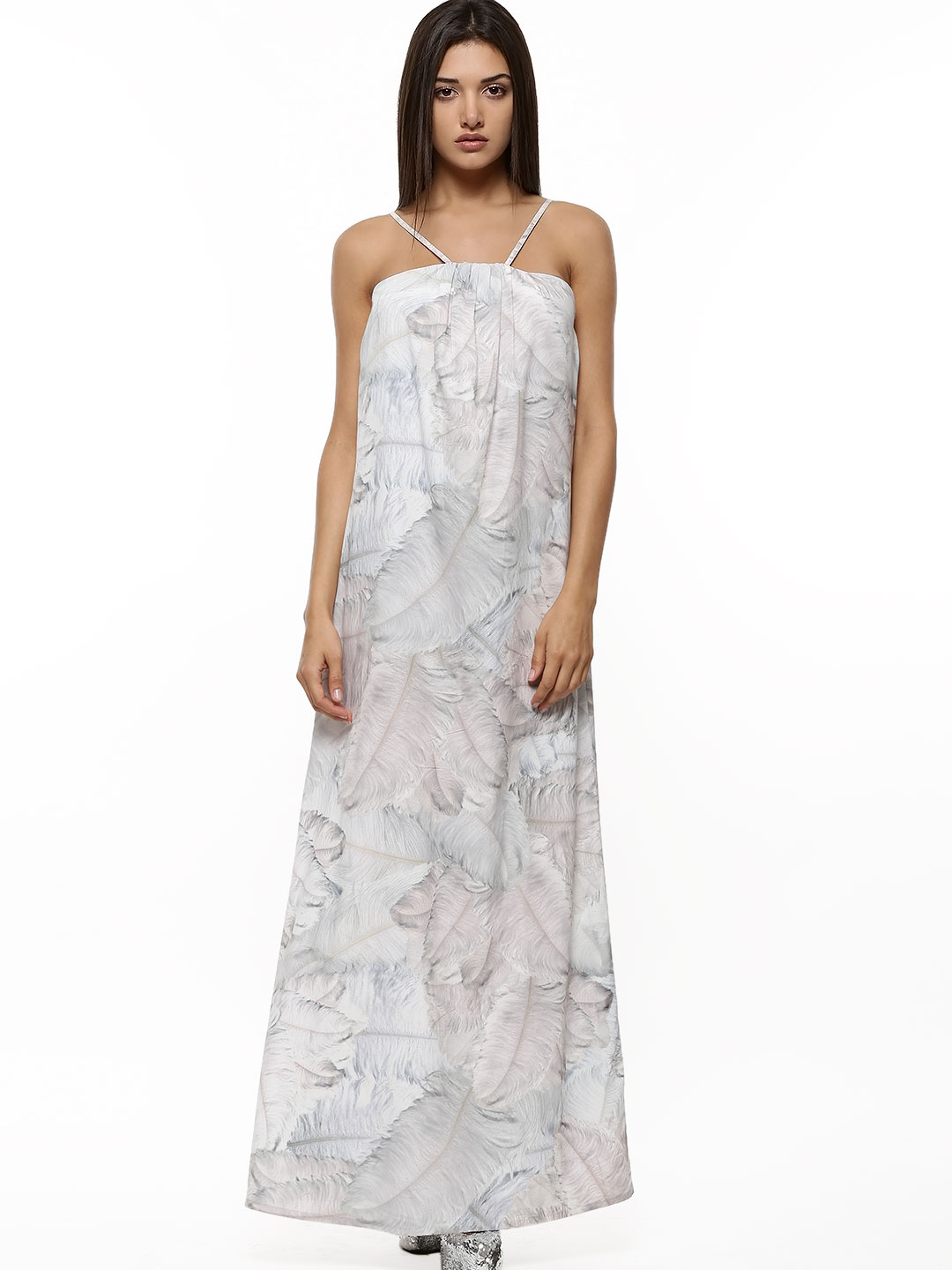 GILES AT KOOVS Multi Feather Print Strappy Maxi Dress 1