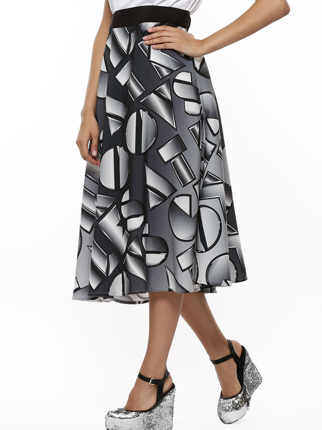 GILES AT KOOVS Black Logo Slogan Midi Skirt 1