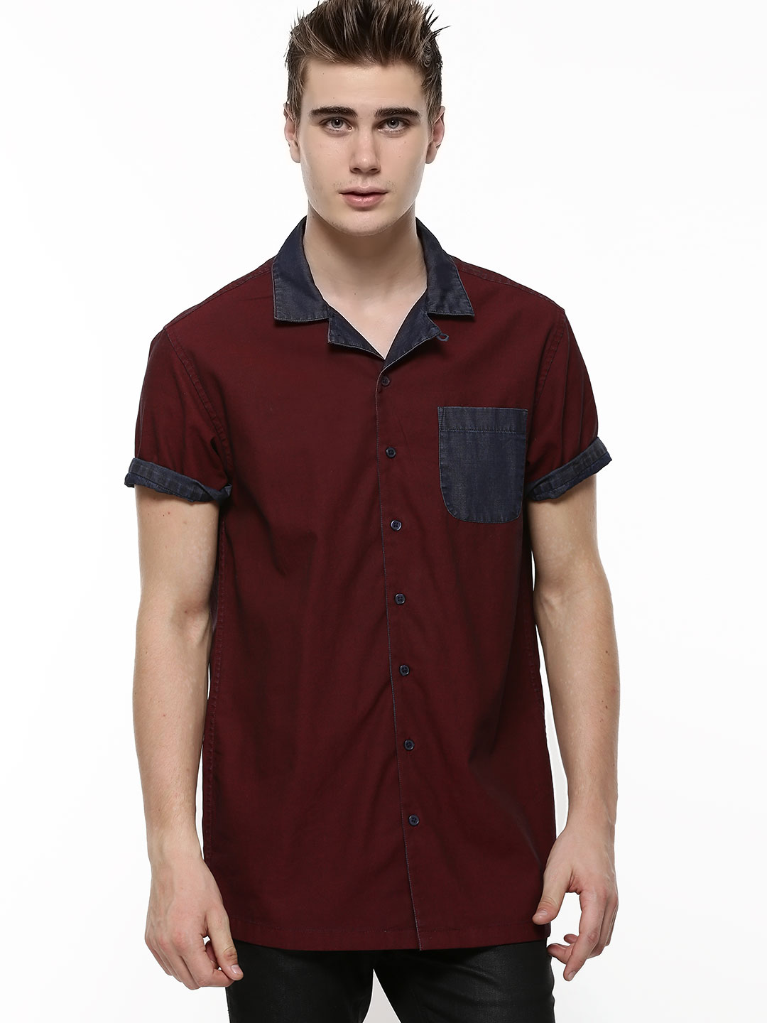 KOOVS Maroon Contrast Pocket Cuban Collar Shirt 1