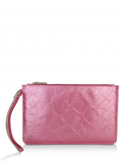 GILES AT KOOVS Logo Slogan Print Leather Clutch