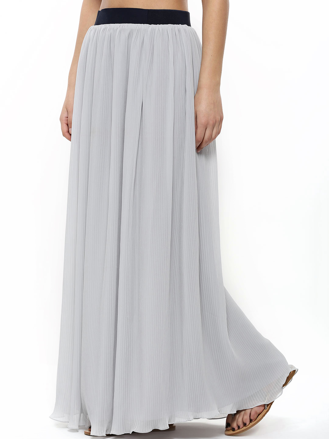 The Paperdoll Company Grey Pleated Maxi Skirt 1