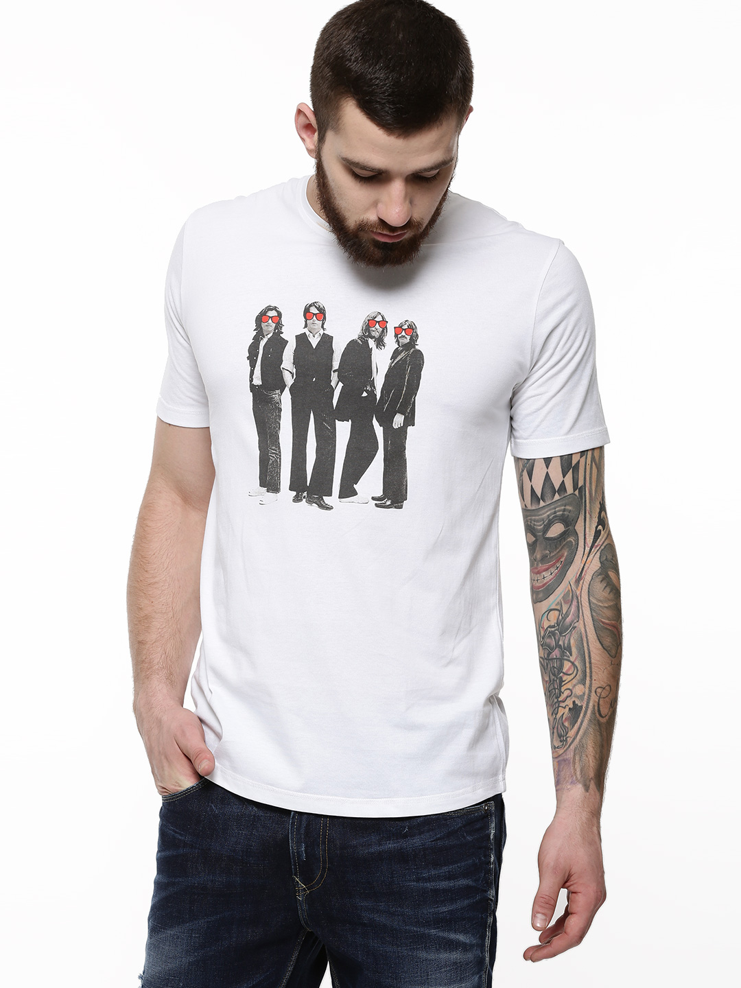 Brown Boy White Beatles Rock Band Print T-Shirt As Seen On Arjun Kapoor 1
