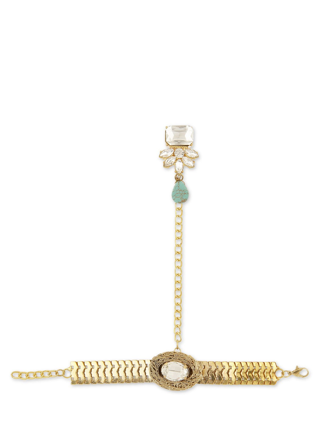 Ae-Tee Gold 4 KOOVS Diamante Bracelet With Ring 1