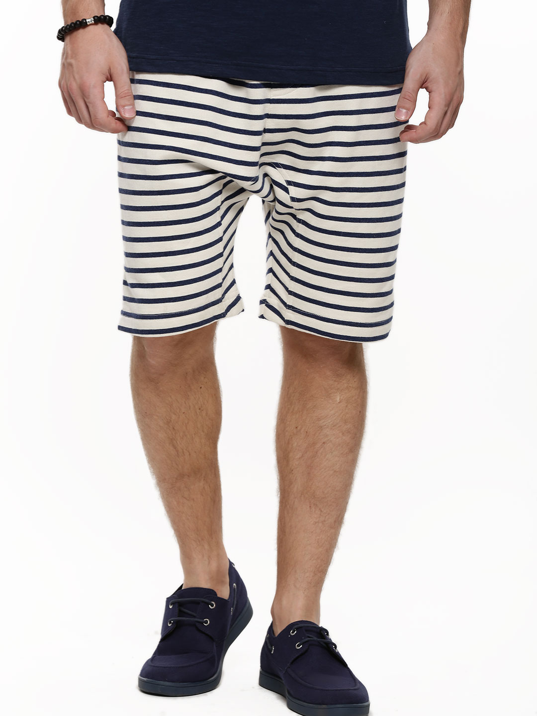 KOOVS Navy Stripe Drop Crotch Shorts 1