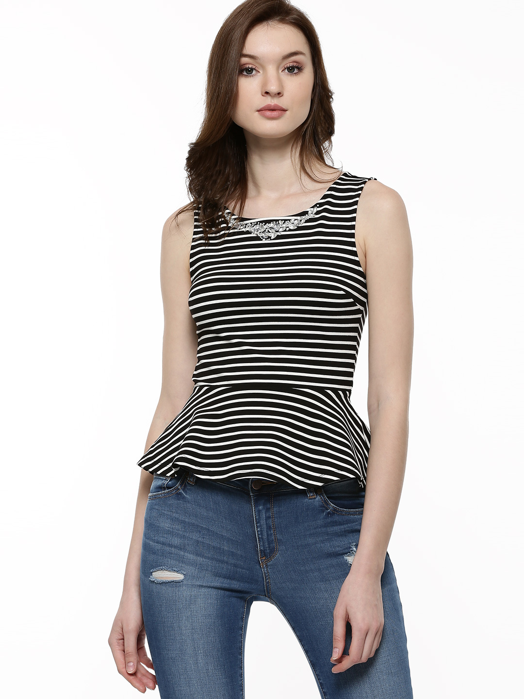 Forever New Black/Porcelain Stripe Neck Embellished Striped Peplum Top 1
