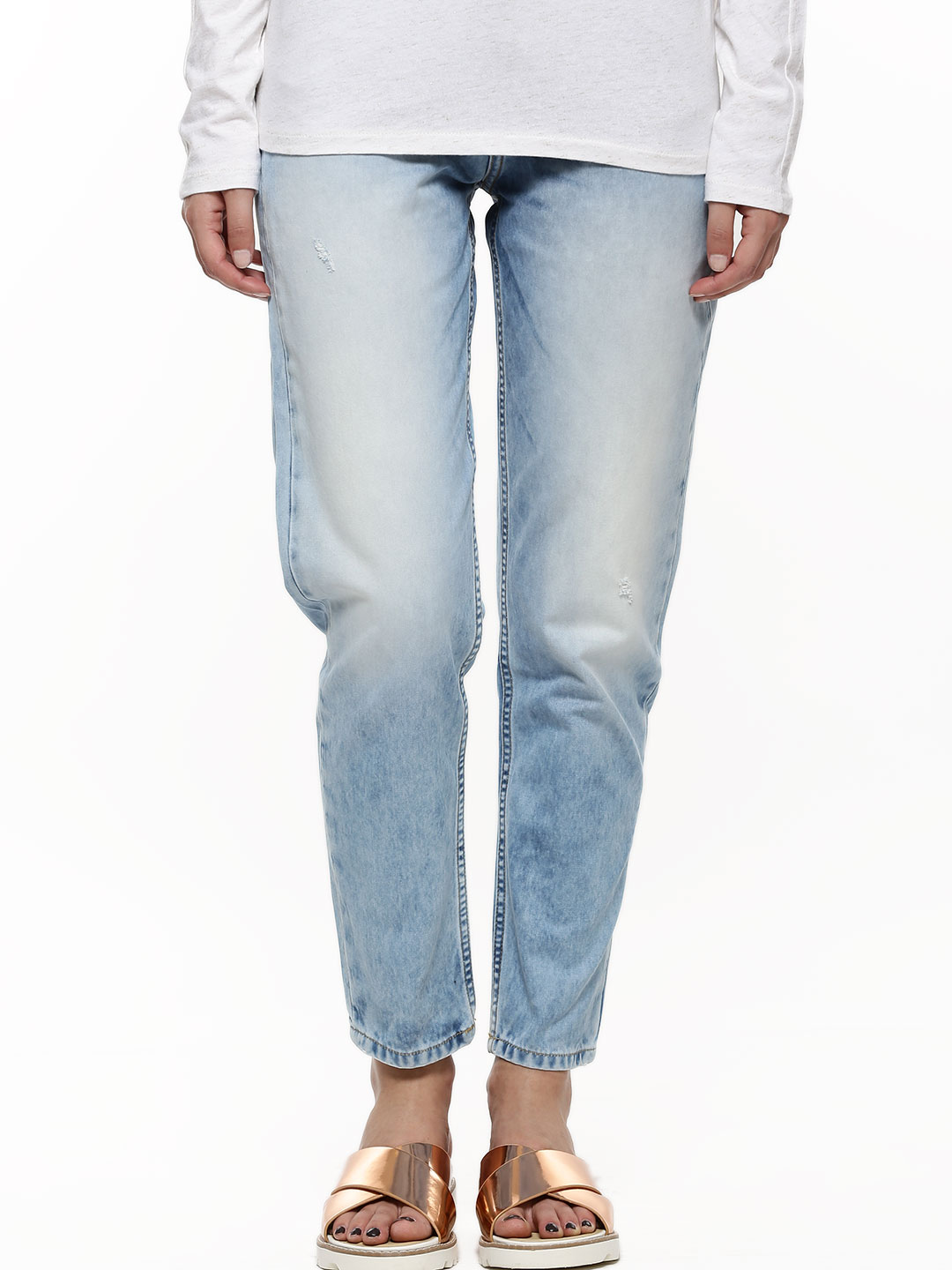 Voi Jeans Blue Ripped Straight Fit Jeans 1