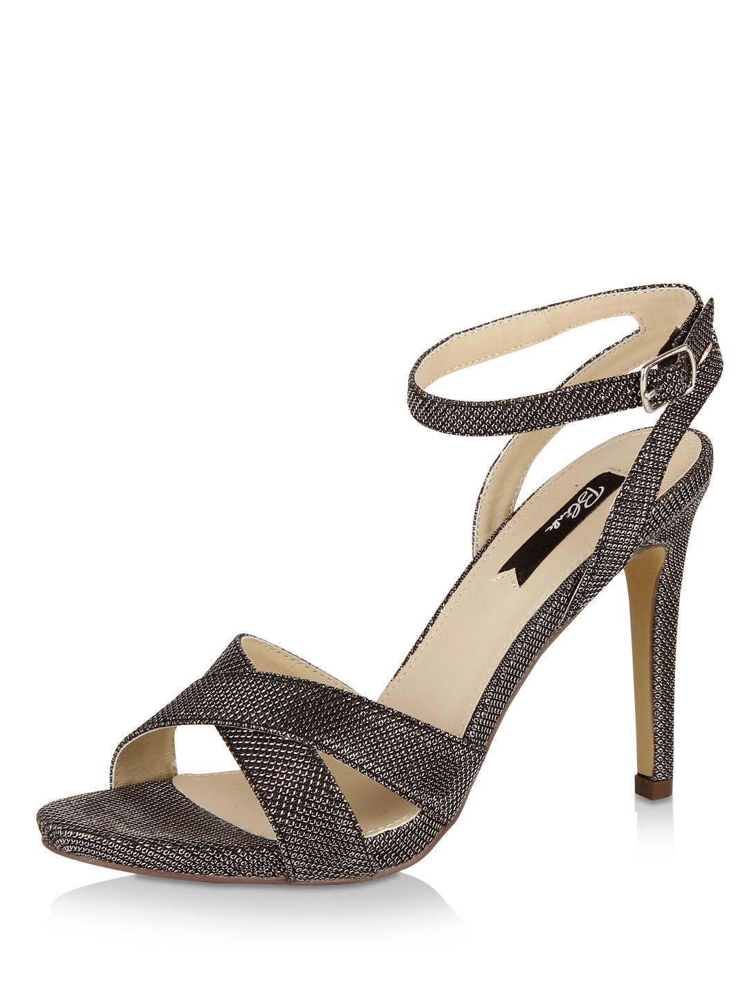 Blink Silver Glitter Mesh Cross-Over Detail Sandal 1