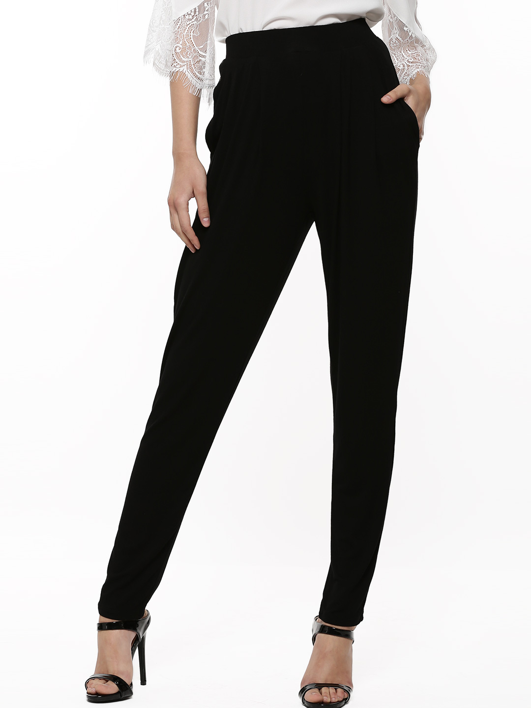 Catwalk88 Black CATWALK 88 Front Pleated Trousers 1