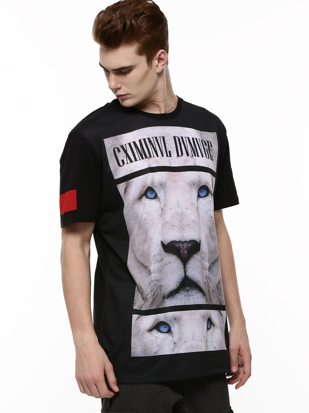 Criminal Damage Black Lion Text Print Longline T-Shirt 1