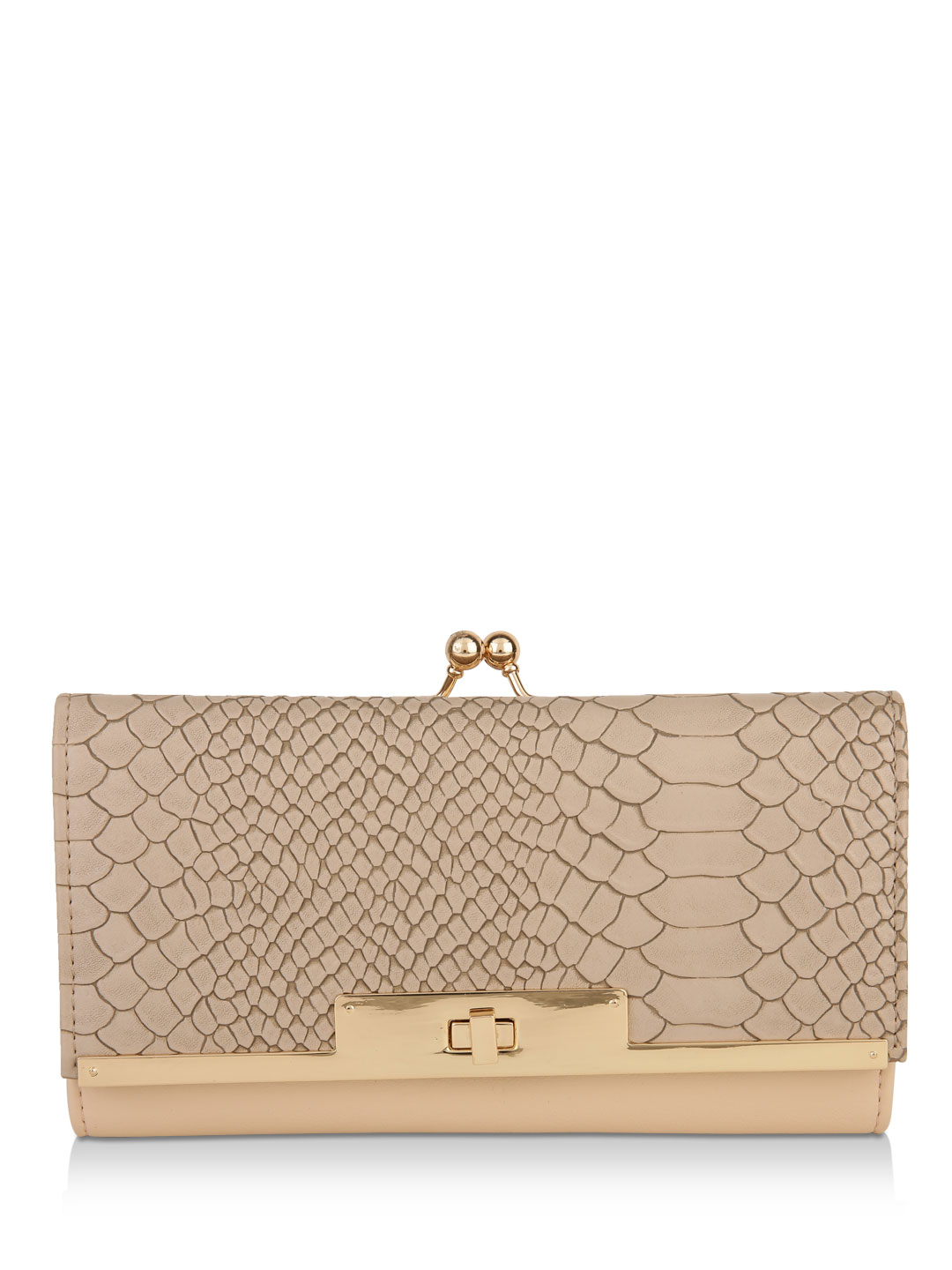 New Look Nude Snake Detail Framed Purse 1