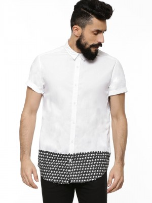 KOOVS Cut & Sew Diamond Shirt...