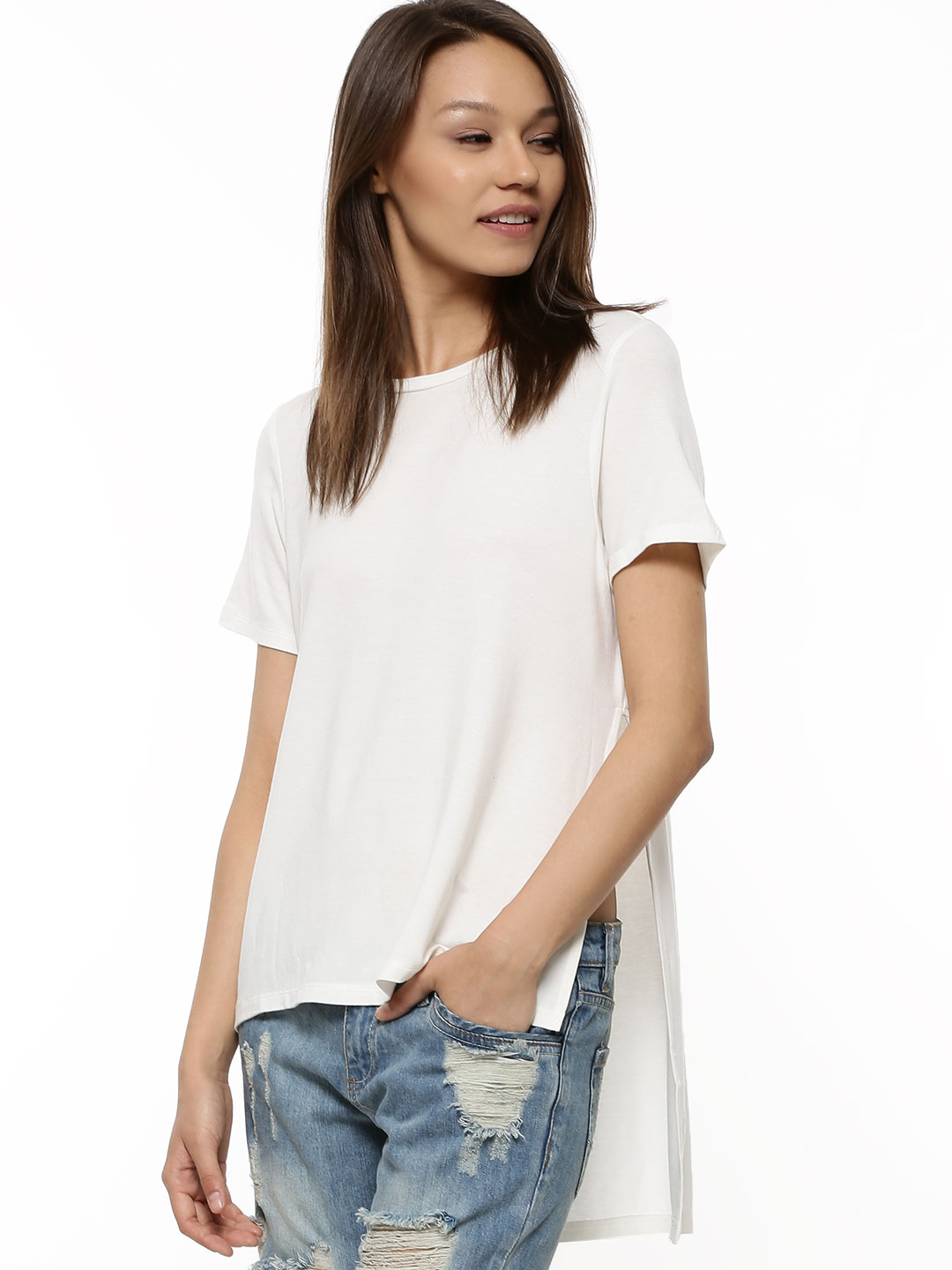 Catwalk88 Ivory CATWALK 88 Long Length Side Slit T-shirt 1