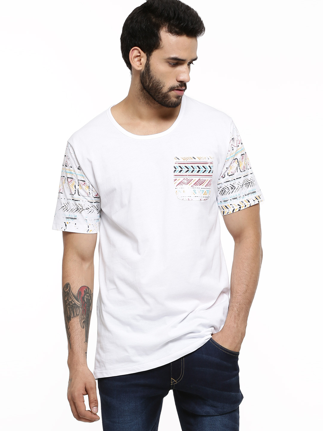 Only & Sons White Navajo Print Detail T-shirt 1