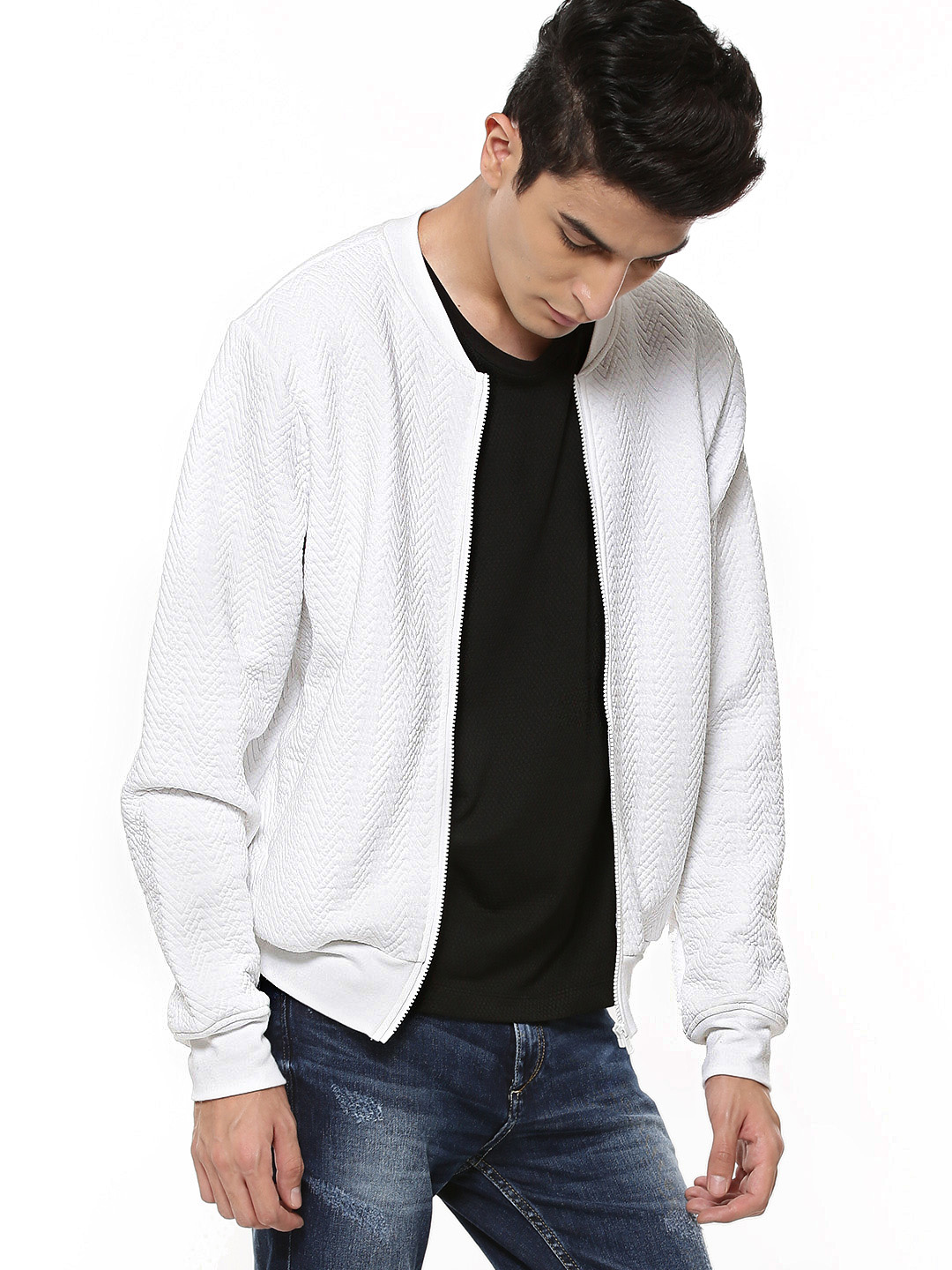 KOOVS White Light Weight Quilted Baseball Jacket 1