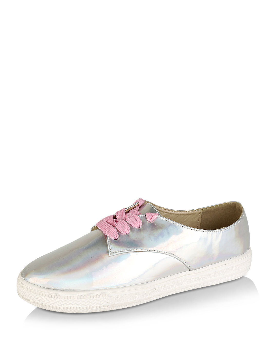 My Foot Couture Silver Holographic flat shoes 1
