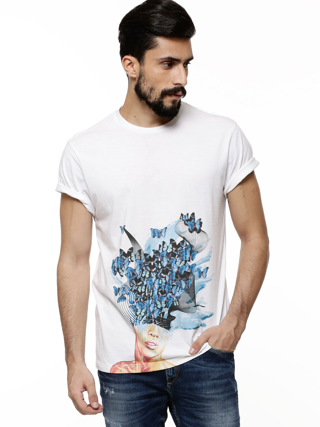 KOLLECTIVE White Shattered Mind Print T-shirt By Esther Ajibade 1