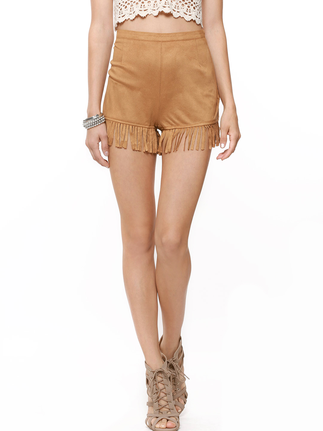 New Look Tan Suedette Fringed Festival Shorts 1