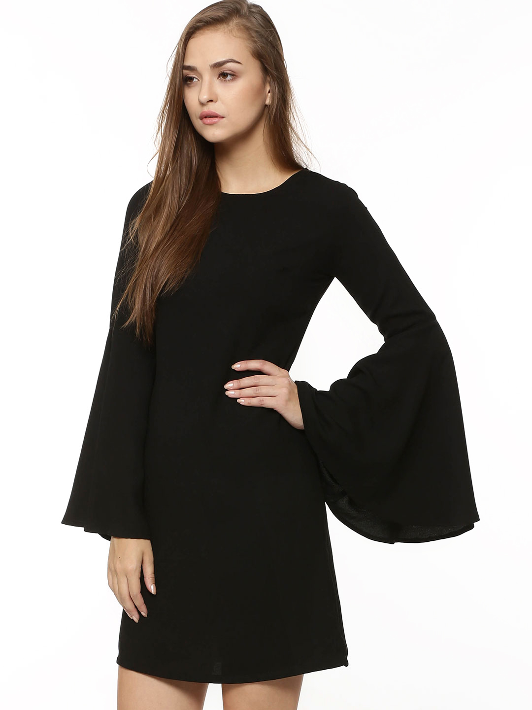 KOOVS Black Bell Sleeve Dress 1