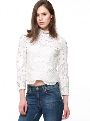 CATWALK 88 Lace High Neck Crop...