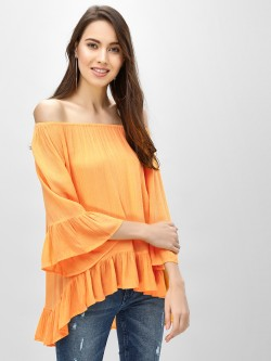 KOOVS Asymmetric Hem Off-Shoulder Top