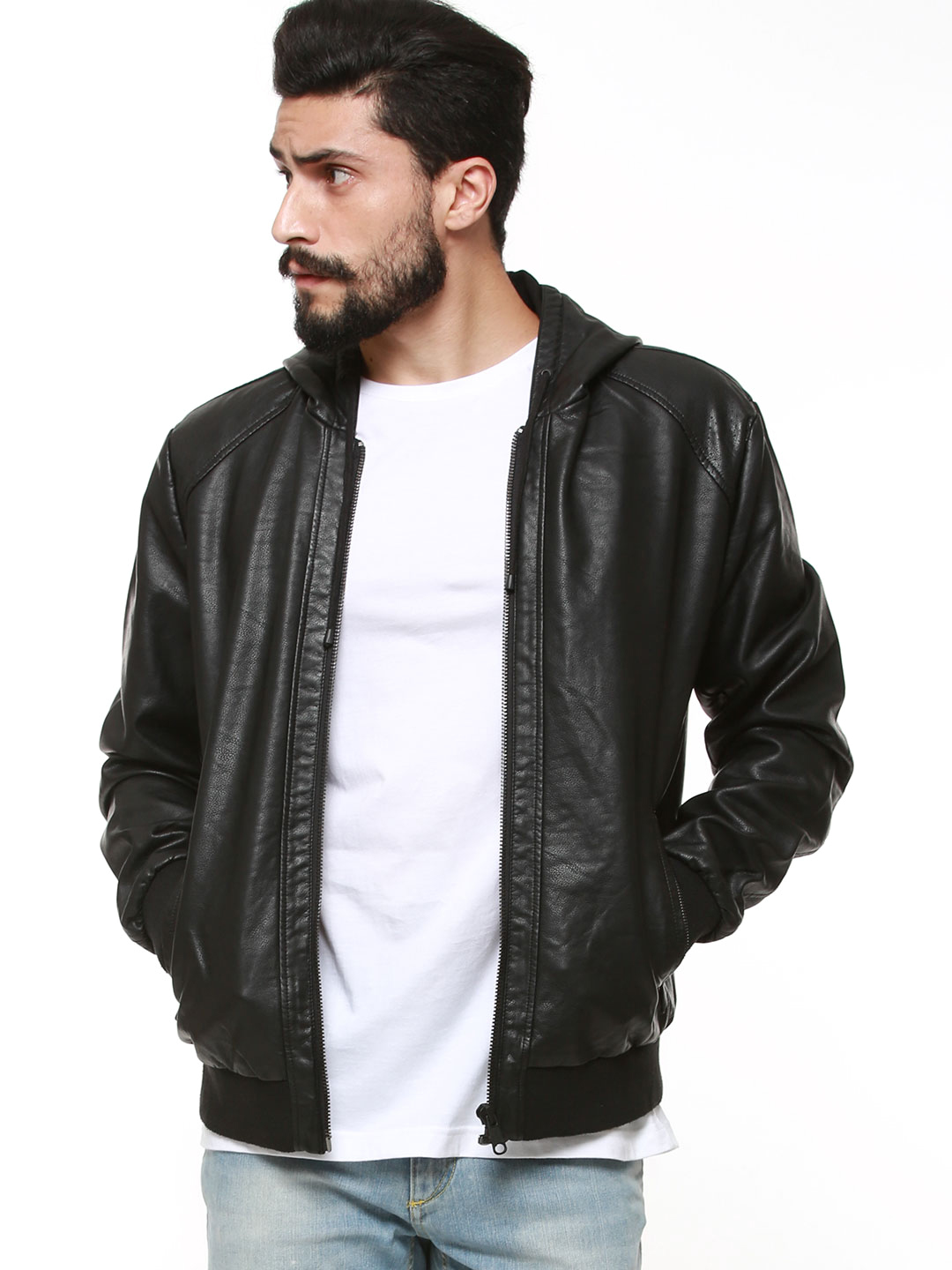 Only & Sons Black Hooded Faux Leather Jacket 1