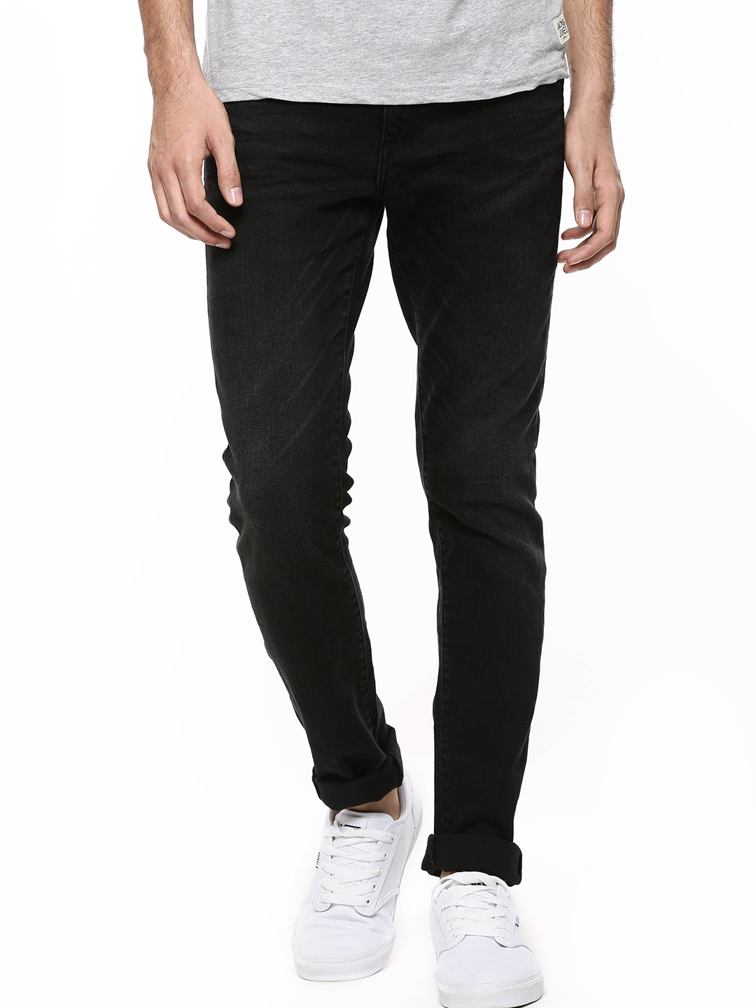 Jack & Jones Black Ben Skinny Fit Jeans With Whiskers 1