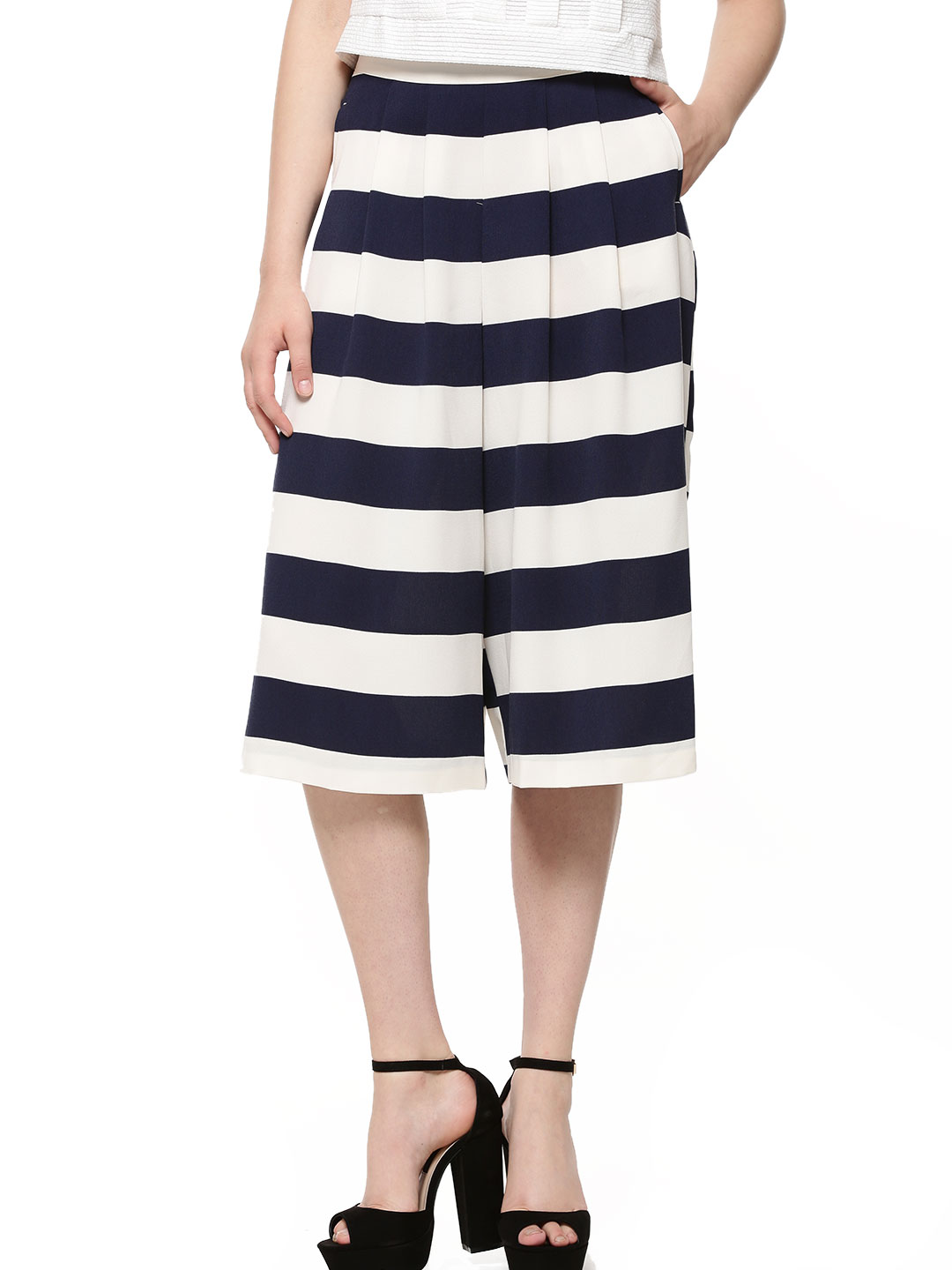 Oasis Blue/Ivory Striped Woven Culottes 1