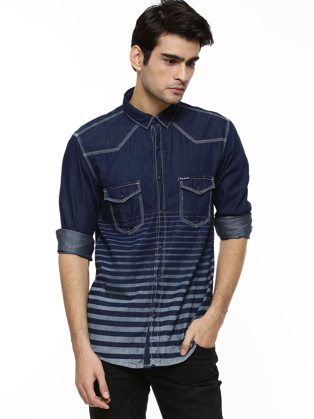 Pepe Jeans Indigo Laser Stripe Shirt With Ombre Effect 1