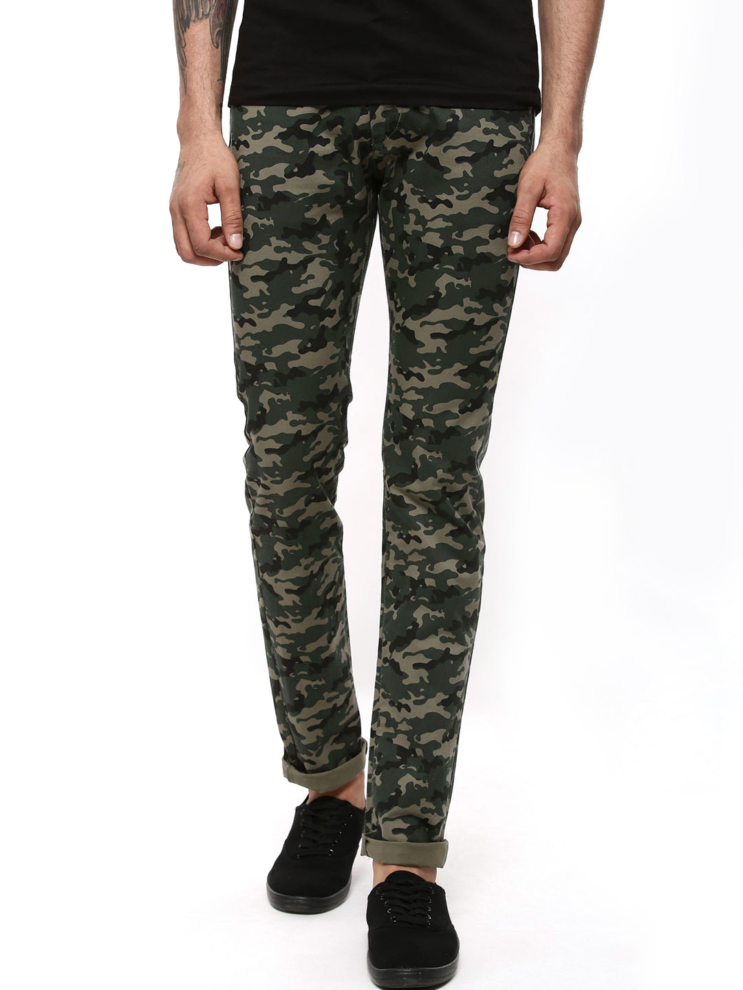 Flying Machine Olive Michael Slim Tapered Camo Trousers 1