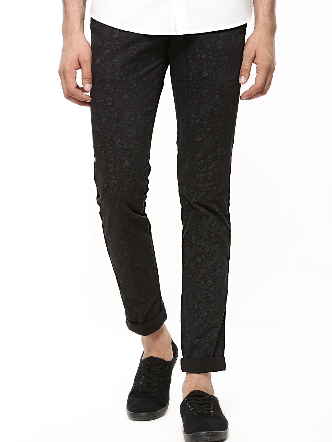 POE Black Floral Print Ankle Length Trousers In Slim Fit 1